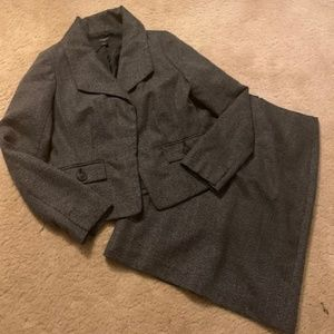 Tweed Texture Blazer Skirt Suit Set Ann Taylor